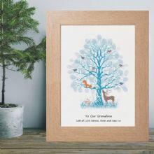 Winter Fingerprint Tree - Personalised Christmas Gift From Grandchildren To Grandparents